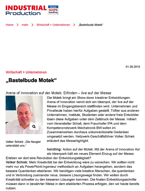 "Presse Arena of Innovation_ ""Bastelbude Motek"" - INDUSTRIAL Production ONLINE"